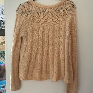 Hollister Peach Cable Knit Swing Bottom Sweater